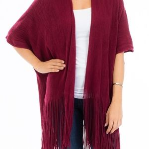 Fringe Trim Sweater Knit Poncho/Cardigan Burgundy